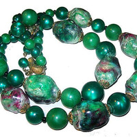 Green Pink Beaded Necklace Signed CORO Thermoset Beads Hook Clasp 1940s Vintage