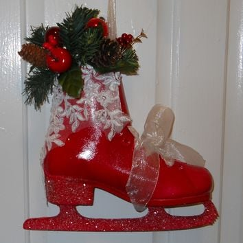 Vintage Ice Skate Front Door Decoration, handmade, Red, White Rhinestone Bridal Lace