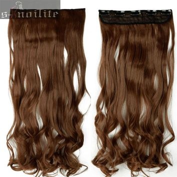 Long Women Lady Clip in on Hair Extension half full head real thick hair Extentions 18-28 inches Curly Wavy Synthetic Hair