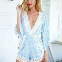 Aqua Blue Printed Bell Sleeve V-neck Romper with Lace Accent