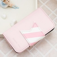 Korea Cute PU Leather Wallet Case Cover for iPhone4/4s pink