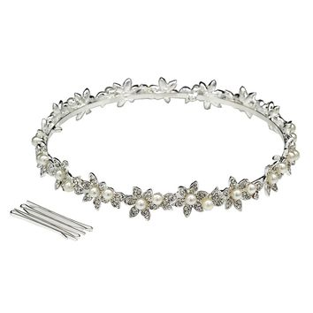 DK FASHION Full Crown Pearl Princess Flower Crystal Girls Hair Tiara Crown hair jewelry