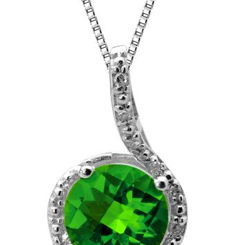 "1.7 cttw Round Created Emerald Diamond Sterling Silver Pendant 18"" Chain"