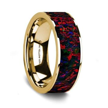Boston 14K Yellow Gold Wedding Ring with Black and Red Opal Inlay Flat Polished - 8 mm