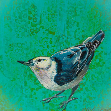 White Breasted Nuthatch Original Acrylic Painting Bird Art