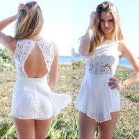 Summer dress white collar sleeveless lace double jumpsuits
