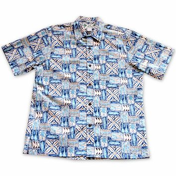 olukai blue reverse print hawaiian cotton shirt