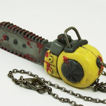 Bloody Chainsaw Necklace in yellow