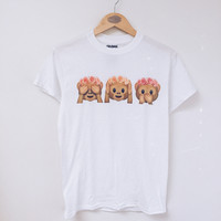 Floral Crown Emoji Monkey Tee