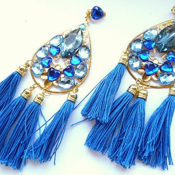 Multicolor Earrings, Statement earrings, Tassel earrings, Cobalt earrings, blue earrings, Big earrings, Huge earrings, teardrop earrings,