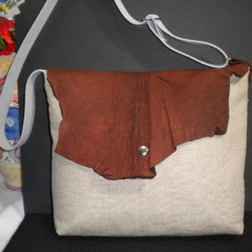 Nubby Linen with  Genuine Raw Leather  flap by maycascollection