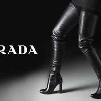 Worn 2x Prada Over the Knee Black Fetish Leather Convertible Thigh High Boots 37