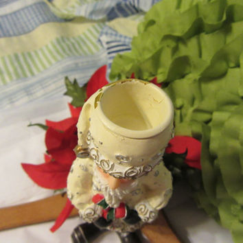 Vintage Resin White Santa Figurine Candle Holder - Unique Gift Idea for the Santa Collector