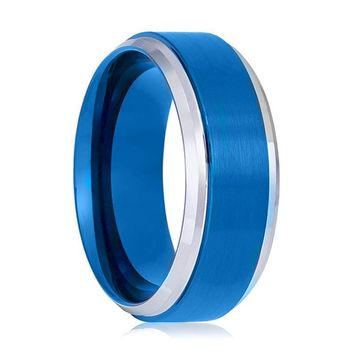 Aydins Tungsten Wedding Ring Blue Brushed Polished Stepped Edges 6mm, 8mm Tungsten Carbide Mens & Womens Band