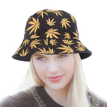 Maple leaves Brooklyn Bucket Hat Man Women Unisex cotton Hemp Leaf Design Basin caps Fisherman Summer Beach leisure Panama hats