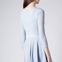 Stunning Baby Blue Lurex Sparkle Skater Party Dress Long Sleeve Celeb Lk S:14