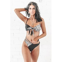Rough Waters Leopard & Black Bikini Top