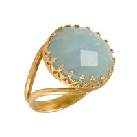 Natural Aquamarine gold ring March birthstone