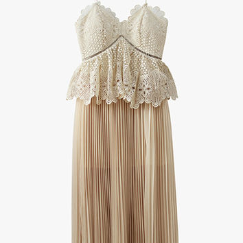 Crochet and Pleated Chiffon Midi Dress