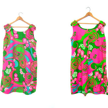 60s Mod Shift Dress Vintage Hot Pink Green MOD Floral Print Hawaiian Dress Retro 70s Mini Sundress Hawaii Go Go Girl Womens Medium DELLS
