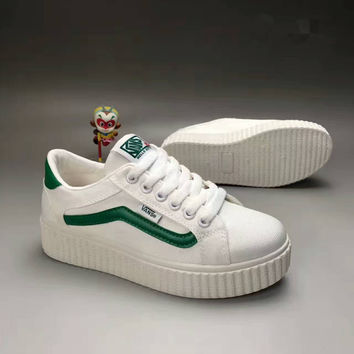 """VANS"" Fashion Casual Stripe Canvas Thick Bottom Plate Shoes Women Sneakers"