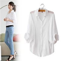 New White Sexy Women's Batwing Sleeve Shirt Loose Tops Button Down Collar Blouse