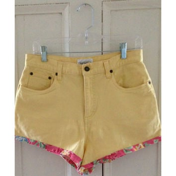 Yellow And Floral High Waisted Denim Shorts