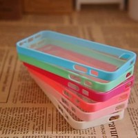 6pcs Cute Colorful Soft Trim High Clear Back cover Bumper Case For iPhone 5 5G