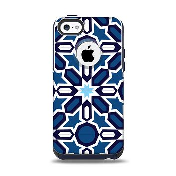 The Blue and White Mosaic Mirrored Pattern Apple iPhone 5c Otterbox Commuter Case Skin Set