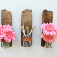 Bottoms Up mason jar sconce rustic reclaimed wood by GettingWeddy