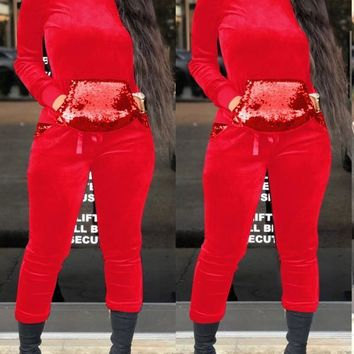 New Red Patchwork Sequin Pockets Hooded Two Piece Long Sleeve Casual Long Jumpsuit