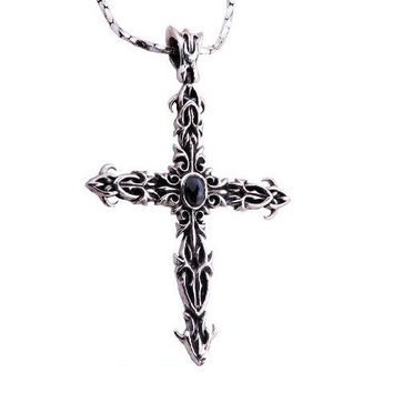 Large Detailed Crusaders Cross Pendant Sterling Silver Necklace Gemstone (w/ SILVER CHAIN)
