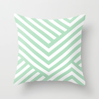 Mint Stripes Throw Pillow by Liv B