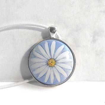 Elegant Daisy Necklace, Daisy Pendant, Daisy Leather Cord Jewelry, Hand Painted White Flower Necklace Choker Charm Handcrafted by Artdora