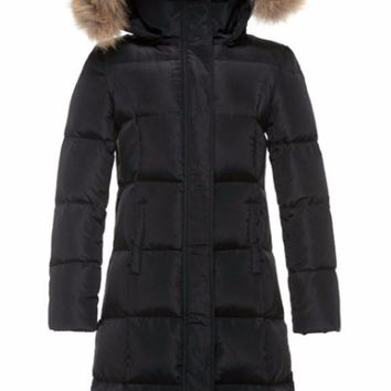 Down Parka Jacket with Genuine Rabbit Fur Trim Hood
