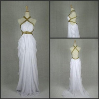 Attractive Sexy Straps Hollow-out Sweep Train Prom Dress/Evening Dress