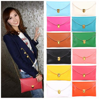 Korea Style Womens Envelope Clutch Chain Purse HandBag Shoulder Bag 12 Colors
