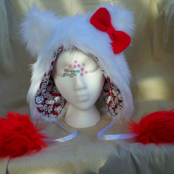 Hello Kitty Inspired Furry Hat - Customize Colors