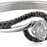 Silver Black Diamond (1/5 cttw) and White Promise Ring