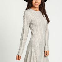 Cable Mohair Knit Sweater Dress