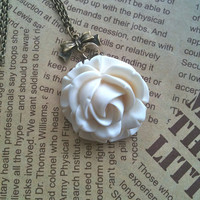 white Rose Flower Necklace by Victorianstudio on Etsy