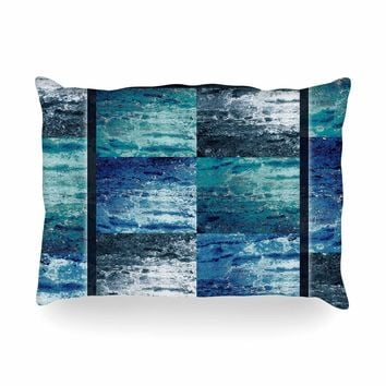 "Nina May ""Tavertina Blue"" Blue Teal Mixed Media Oblong Pillow"