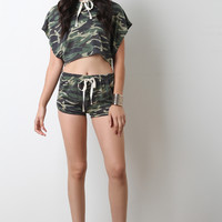 Camouflage Knit Drawstring Shorts