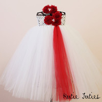 White and red, purple, lavender, ivory, lime, pink, black, flower girl tutu dress infant, toddler, child, 12, 18, 24, 2t, 3t, 4t