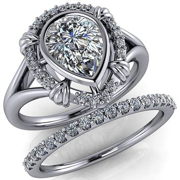 Caldwell Pear Moissanite Bezel Set Diamond Halo Split Shank Engagement Ring