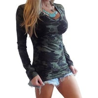 V Neck Long Sleeve Leisure Blusas Casual Slim Fitted Camouflage Print Tops