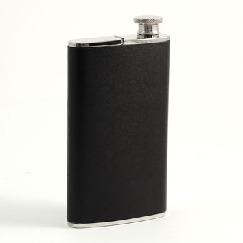 4 oz. Stainless Steel Flask with Cigar Holder in Black Leather.