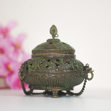 Brass Lantern / Incense Burner, Vintage Indian Lamp / Candle Holder Lantern Hand Pierced Metal, India, Oriental, Global Style Home Decor