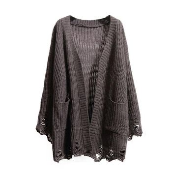 oversize Cardigan  Long Sleeve Knitted Sweater With Pockets