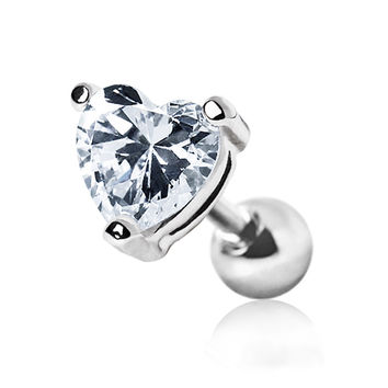 316L Surgical Steel Heart CZ Stud Cartilage Earring